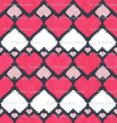 """""""Kilim"""" me gentle // red pink & white hearts"""
