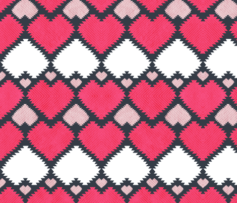 """""""Kilim"""" me gentle // red pink & white hearts fabric by selmacardoso on Spoonflower - custom fabric"""