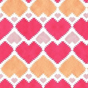 """Kilim"" me gentle // red orange & pink hearts"