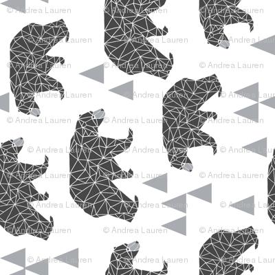 geo bear // charcoal light grey bear triangles geometric kids boys nursery - railroad