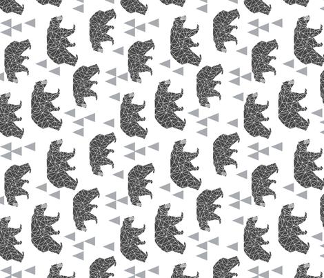 geo bear // charcoal light grey bear triangles geometric kids boys nursery - railroad fabric by andrea_lauren on Spoonflower - custom fabric