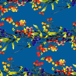 berries of a different color watercolor horizontal on deep blue