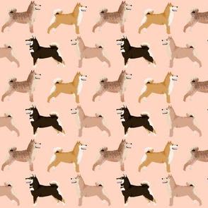 shiba inu dog cute dogs navy blue dog fabric pet dog shiba inu Japanese dog fabric doge - blush (smaller)