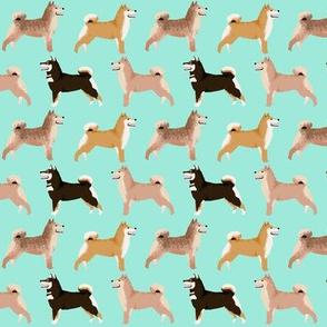 shiba inu dog cute dogs navy blue dog fabric pet dog shiba inu Japanese dog fabric doge - mint (smaller)