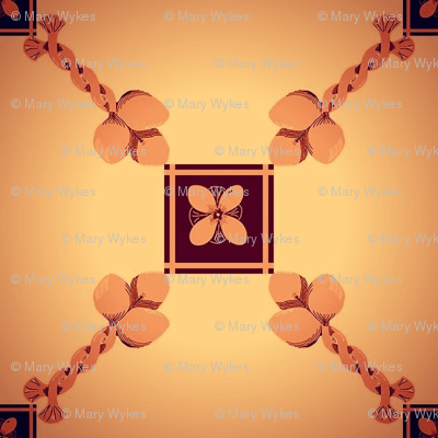 Mini Spoonflower Trellis in Burnt Orange on a shadowed background-ed