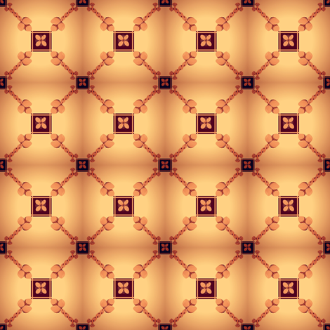 Mini Spoonflower Trellis in Burnt Orange on a shadowed background-ed fabric by maryyx on Spoonflower - custom fabric