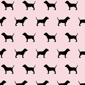 Beagles Pink with Black Dog Silhouette