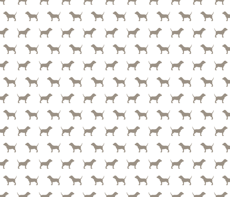 Beagles Warm Grey Silhouettes fabric by mariafaithgarcia on Spoonflower - custom fabric