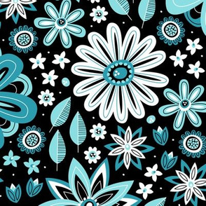 Bohemian Fields (Black and Teal)