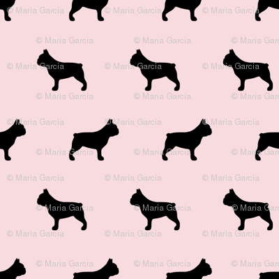 French Bulldog Silhouettes on Pink