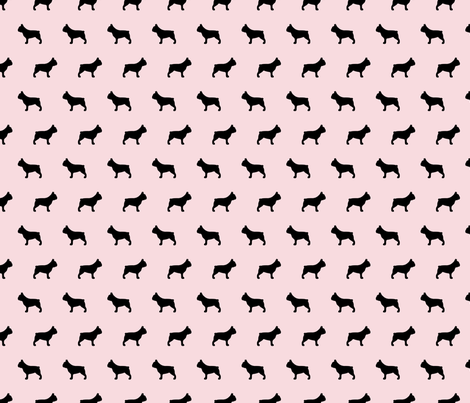 French Bulldog Silhouettes on Pink fabric by mariafaithgarcia on Spoonflower - custom fabric