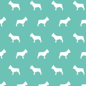 French Bulldog Silhouettes on Turquoise