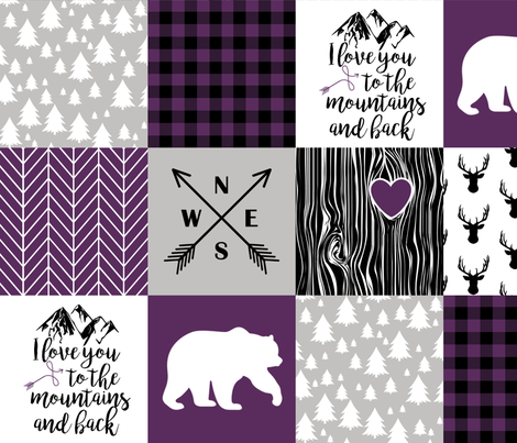 love you to the mountains - whole cloth cheater quilt - plum fabric by longdogcustomdesigns on Spoonflower - custom fabric