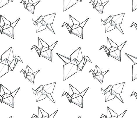 Origami Sketch Fabric By Crafted On Spoonflower