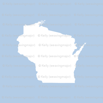 """Wisconsin silhouette - 6"""" white on pale blue"""