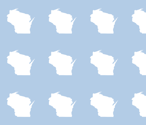 "Wisconsin silhouette - 6"" white on pale blue fabric by weavingmajor on Spoonflower - custom fabric"