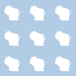 "Wisconsin silhouette - 6"" white on pale blue"