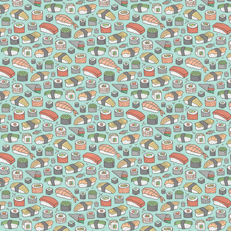 Sushi on Mint Green Tiny Small  fabric by caja_design on Spoonflower - custom fabric