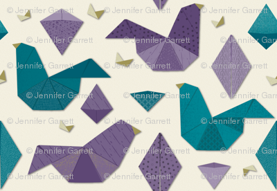 Origami birds in purple and teal