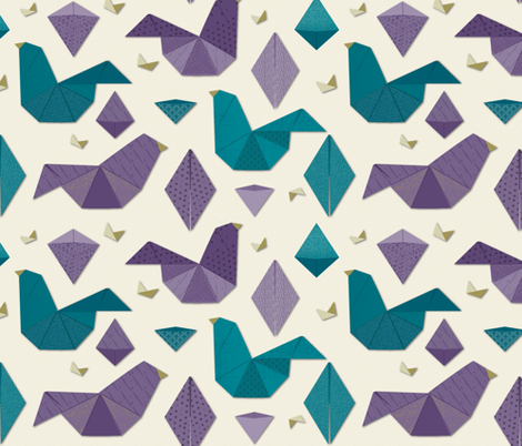 Origami birds in purple and teal fabric by jennifer_todd on Spoonflower - custom fabric