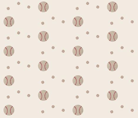 Baseball wave toss - cream fabric by drapestudio on Spoonflower - custom fabric