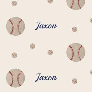 Baseball wave toss - cream PERSONALIZED for Jaxon