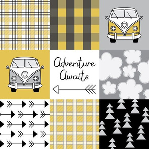 adventure awaits camper van gold and black