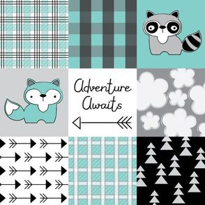 adventure awaits raccon and fox teal and black wholecloth