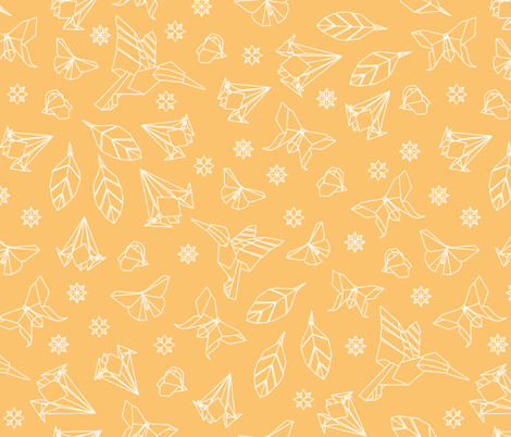 yellow_Origami_Outline_white_crop fabric by kasumidesign on Spoonflower - custom fabric