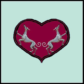 Sighthounds_RedHeart/MintBackground-For Cushions bags etc.