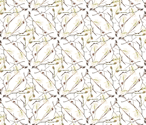 twigs and  dried flowers on white fabric by madeinskandia on Spoonflower - custom fabric