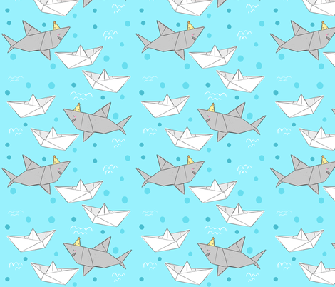 Origami Sharks & Boats fabric by how-store on Spoonflower - custom fabric