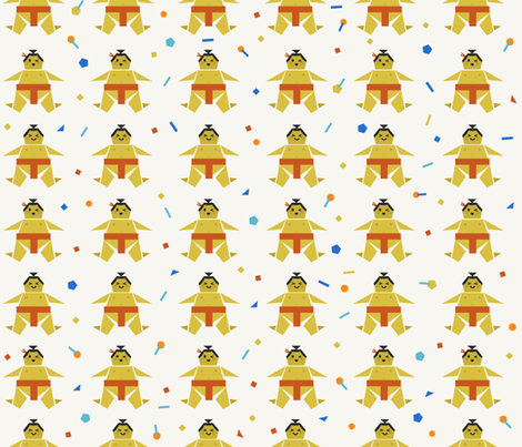 Origami Happy Sumo with Confetti fabric by morecandyshop on Spoonflower - custom fabric