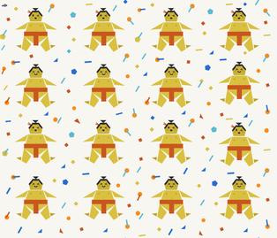 Origami Happy Sumo with Confetti fabric by morecandystudio on Spoonflower - custom fabric
