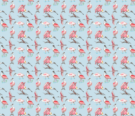 Roseate spoonbills on blue 4x4 fabric by leroyj on Spoonflower - custom fabric