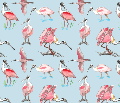 Roseate spoonbills on blue 10x10 fabric by leroyj on Spoonflower - custom fabric