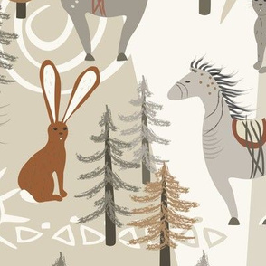 Horse & Hare Repeat - Neutral