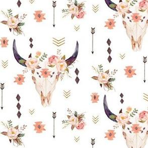 Boho Aztec Bison Skull Flowers – Longhorn Bull Horns Southwest Baby Girl Nursery A