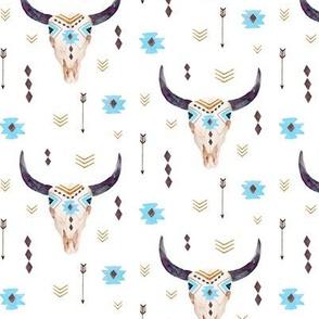 Bison Aztec Skull – Longhorn Bull Horns Southwest Baby Boy Nursery B