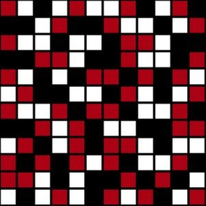 Medium Mosaic Squares in Black, Dark Red, and White