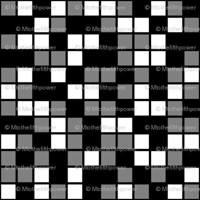 Medium Mosaic Squares in Black, Medium Gray, and White