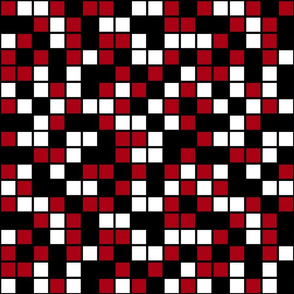 Large Mosaic Squares in Black, Dark Red, and White