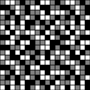 Large Mosaic Squares in Black, Medium Gray, and White