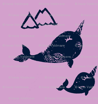 Baby and mama narwhals