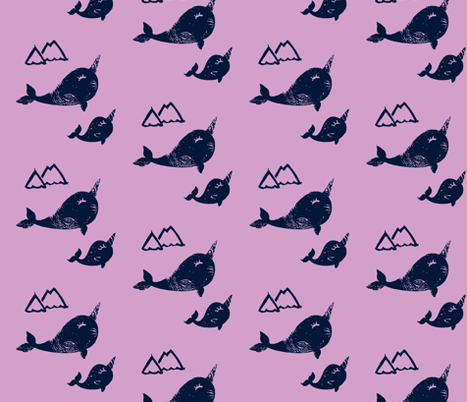 Baby and mama narwhals  fabric by silksieve on Spoonflower - custom fabric