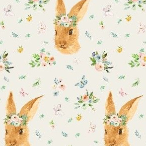 """4"""" Spring Time Bunny Ivory / Tan"""