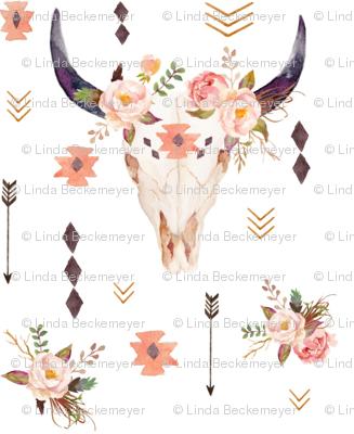 Boho Aztec Bison Skull Flowers – Longhorn Bull Horns Southwest Baby Girls Nursery B