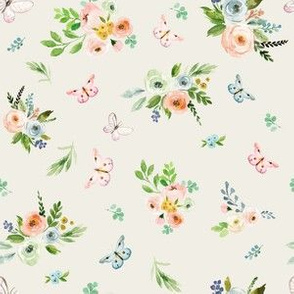 """6"""" Spring Time Bunny Florals Tan"""