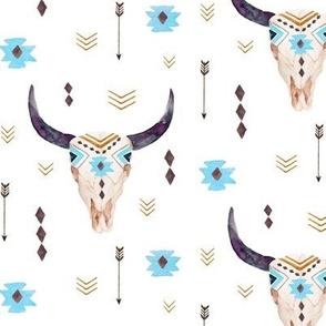 Bison Aztec Skull – Longhorn Bull Horns Southwest Nursery A