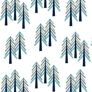 Pine Trees - Navy Blue Woodland Forest Tree Grove Baby Boy Nursery